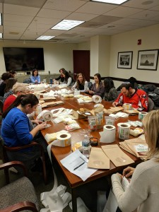 DC IFT chapter members volunteer to label packages for Together We Bake